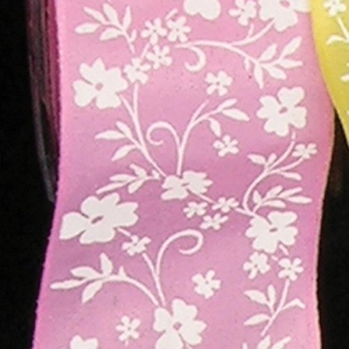 Pink with White Small Flower Print Taffeta Wired Craft Ribbon 1.5