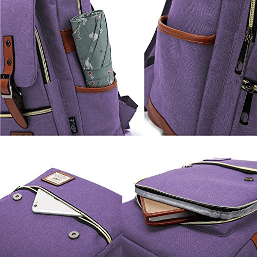 Canvas Backpack - Lightweight Laptop Backpack, Vintage Travel Backpack with Laptop Sleeve, Campus Backpack with Side Pockets Canvas Rucksack for School Working Hiking (purple) by GoTravel2 (Image #5)