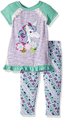 Girl 4t 4 Rare Editions (Rare Editions Girls Unicorn Outfit Leggings Set (3m-6x) (4t))