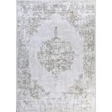 neutral living room Decomall Traditional Vintage Oriental Distressed Abstract Area Rug for Living Room Bedroom, Light Brown, 5'x7'