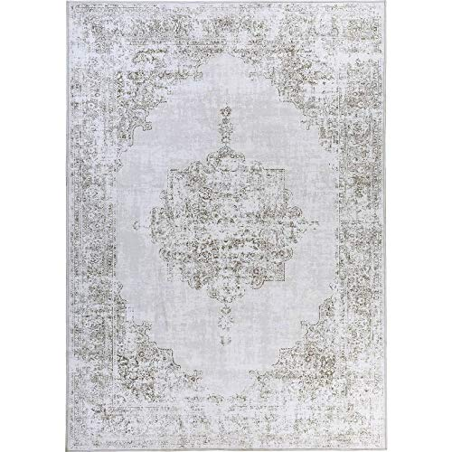 Decomall Traditional Vintage Oriental Distressed Abstract Area Rug for Living Room Bedroom, Light Brown, 5'x7'