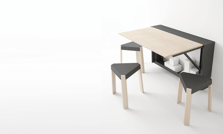 Cancio mesa Block plegable, plegable a pared cubierta radiador, contenedor para sillas y cajas_110 x 20 plano blanco poro abierto estructura blanca