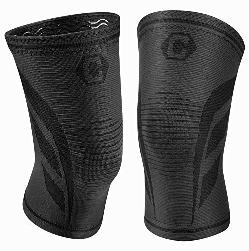 CAMBIVO 2 Pack Knee Brace, Knee Compression Sleeve Support for Running, Arthritis, ACL, Meniscus Tear, Sports, Joint Pain Relief and Injury Recovery (Medium, Ns70 Black)