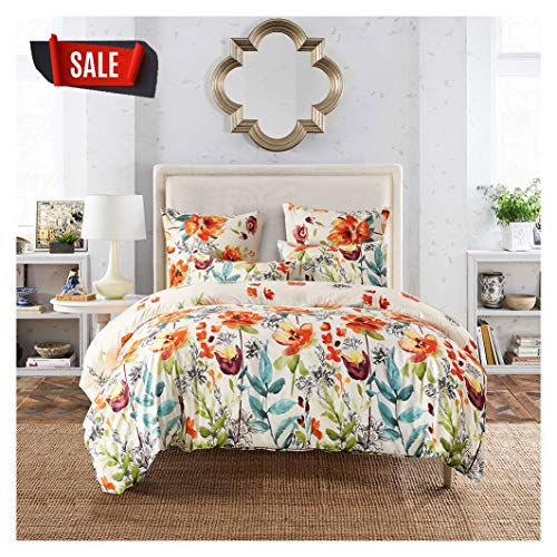 Elephant Soft Queen Duvet Cover Set, Premium Microfiber, Colourful Floral Pattern On Comforter Cover-3pcs:1x Duvet Cover 2X Pillowcases,with Zipper Closure (Full/Queen)