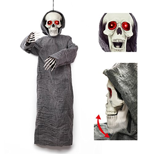 50 inch Animated Hanging Skeletion Ghost Reaper Halloween Decoration by Spooktacular Creations