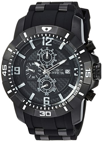 Invicta Men's Pro Diver Quartz Watch with Stainless-Steel Strap, Black, 26 (Model: 24967)