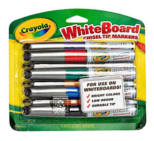 Crayola Dry Erase Markers, Chisel Tip, Low Odor, 8 Count ()