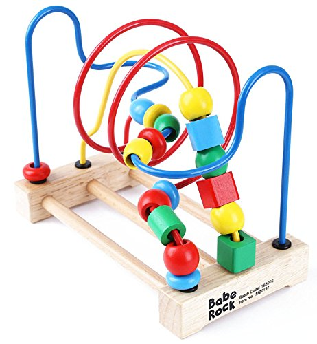 Babe Rock Bead Maze Game Roller Coaster Classic Wooden Educational Toys for Toddlers Activity Cube Gift for 1 2 3 4 5 Years Old Baby Boys Girls ()
