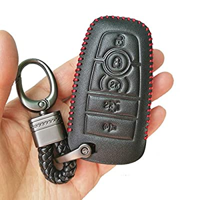 Black Hand Sewing Leather Cover Key Fob Case Protector Jacket Holder For 2020 Ford Fusion Edge F250 F350 F450 F550 2020 Explorer Expedition 5 Buttons Smart Remote Control: Automotive