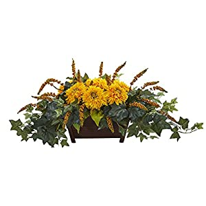Nearly Natural 1650-YL Sunflower Artificial Decorative Planter Silk Arrangements Yellow 118