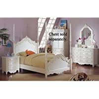 Pearl White 4Pc Princess Girls Twin Size Poster Bedroom Set