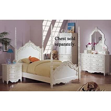 Amazon.com - Pearl White 4Pc Princess Girls Twin Size Poster Bedroom ...