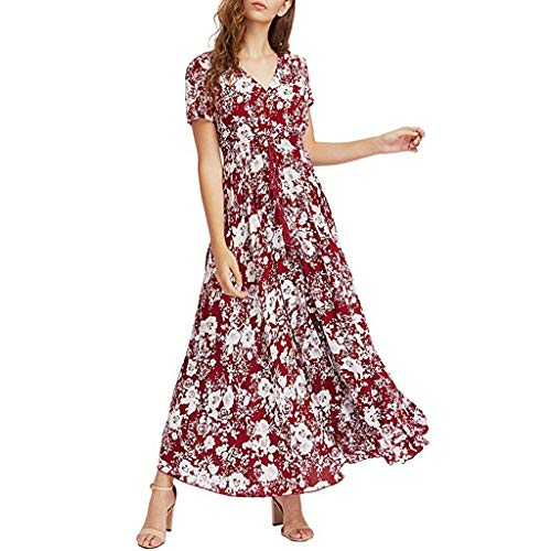 Women Short Sleeve V Neck Button Up Dresses Floral Printed High Slit Lace Up Empire Waist Pleated Dress (Red, 2XL) by Yicolo (Image #2)