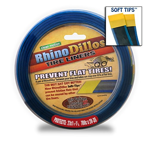 Rhinodillos Bicycle Tire Liners 700 x 28-35c Flat Prevention, Tough Silver Strip, Softer Blue Layer with Red Sticker (Bike Liner)