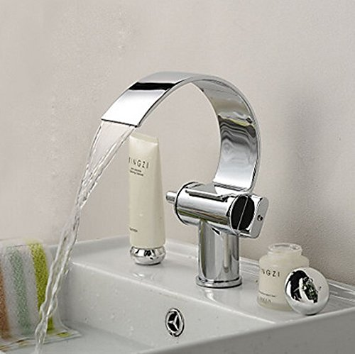 Furesnts Modern home kitchen and bathroom faucet Brushed stainless steel SUS304 Stainless Wall Mount Widespread Contemporary Waterfall Bathroom Bathtub Faucets,(Standard G 1/2 universal hose ports) by Furesnts Faucet