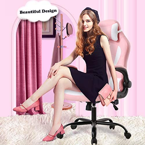 High-Back Gaming Chair Racing Office Chair Computer Desk Chair Executive PU Leather Rolling Swivel Chair with Lumbar Support Adjustable Stool Flip UP Arms Chair for Back Pain Pink