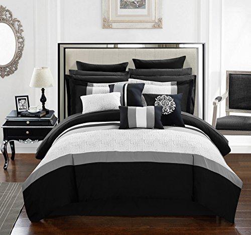 Chic Home CS1140-AN Pisa 16 Piece Bed in A Bag Comforter Set, Black, Queen