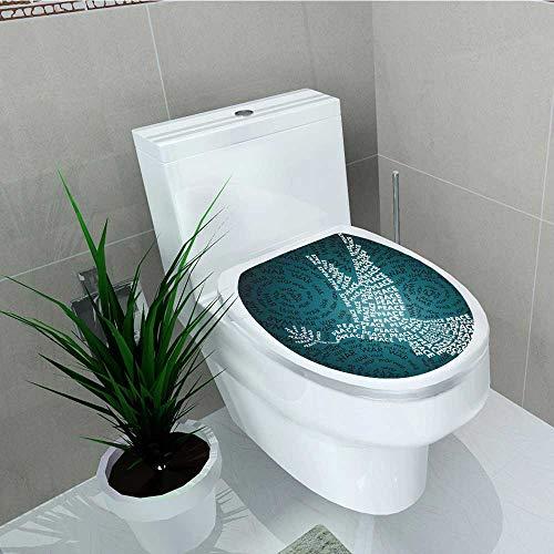 (Philip C. Williams Bathroom Removable PVC War Dove Symbol Peace Words Over Stop The War Warfare Theme Art Black White Vinyl Removable Bathroom W13 x L16)