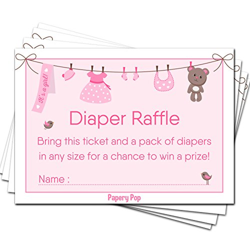50 Diaper Raffle Tickets for Baby Shower Girl (50 Pack) - Bring a Pack of Diapers to Win a Prize - Baby Shower Invitations Inserts Request Cards Games Decorations Supplies -