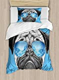 Ambesonne Pug Duvet Cover Set Twin Size, Pug Portrait with Mirror Sunglasses Hand Drawn Illustration of Pet Animal Funny, Decorative 2 Piece Bedding Set with 1 Pillow Sham, Pearl Blue Black