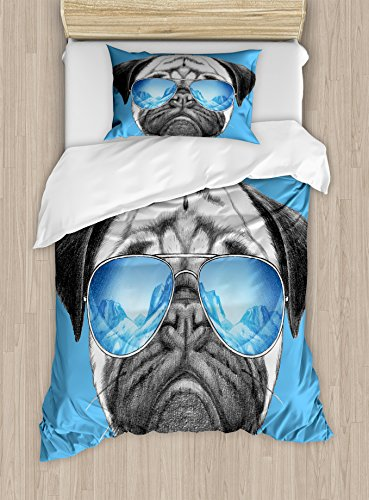 Ambesonne Pug Duvet Cover Set Twin Size, Pug Portrait with Mirror Sunglasses Hand Drawn Illustration of Pet Animal Funny, Decorative 2 Piece Bedding Set with 1 Pillow Sham, Pearl Blue Black by Ambesonne