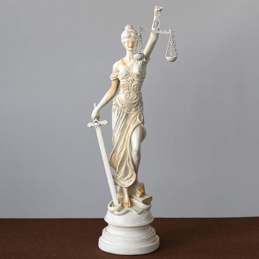 YJTCQC Statue de Justice Dame aux Yeux band/és 3x3x12 Pouces d/éesse Romaine de la Sculpture en r/ésine Mus/ée De-Grado Collection pour Cabinet davocats Cadeau-c 8x7x31cm