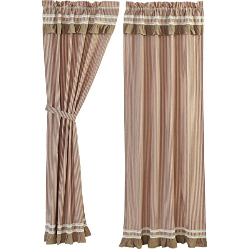 VHC Brands Farmhouse Curtains Kendra Stripe Panel Pair, Red