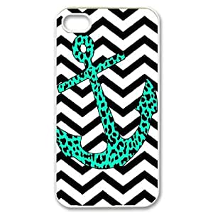 HB-P-CASE DIY Design Blue Chevron Anchor Pattern Phone Case For Iphone 4/4s