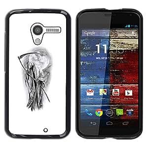 Reaper Death Metal Roca Blanco Negro- Metal de aluminio y de plástico duro Caja del teléfono - Negro - Motorola Moto X 1 1st GEN I
