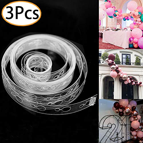 Balloon Decorating Strip Kit for Garland Streamer 3 Rolls 16 Feet Balloon Tape Strips for Birthday Wedding Bridal Shower Baby Shower Graduation Xmas Party Decorations -