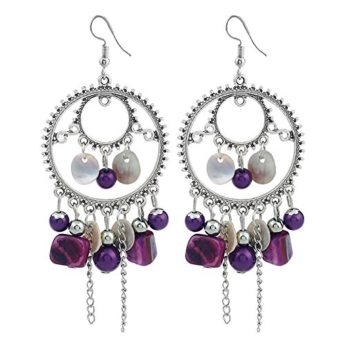 (SANWOOD Women Ethnic Retro Beads Tassel Chain Round Circle Hook Earring Ear Drop Jewelry (Purple))