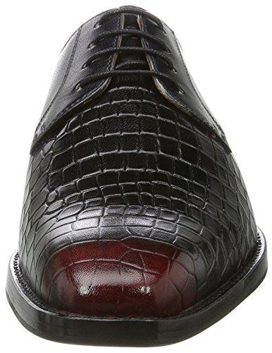 Melvin & HamiltonMartin 1 - Zapatos Derby Hombre Schwarz (Venice Rocco / Venice Black / Black / Toe Red, Hrs)
