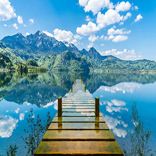 FEISENBZ 3D Wallpaper Nature Scenery Blue Sky Wooden Bridge Lake Photo Wall Mural Living Room Tv Sofa Backdrop Wall Papers for Walls 3 D (The Sky Was The Color Of Television)