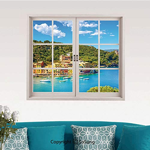 (Italy Removable Wall Sticker/Wall Mural,Portofino Landmark Aerial Panoramic View Village and Yacht Little Bay Harbor Decorative Creative Close Window View Wall Decor,24