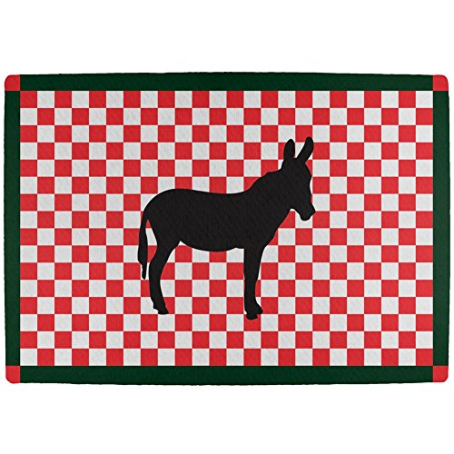 [Country Kitchen Checkerboard Donkey All Over Indoor Mat] (World Country Themed Costumes)