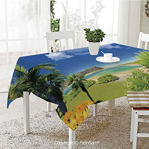 AmaUncle 3D Dinner Print Tablecloths Paradise Beach with Palm Trees in Exotic Island Happiness Coastal Charm Image Kitchen Rectangular Table Cover (W60 xL104) -