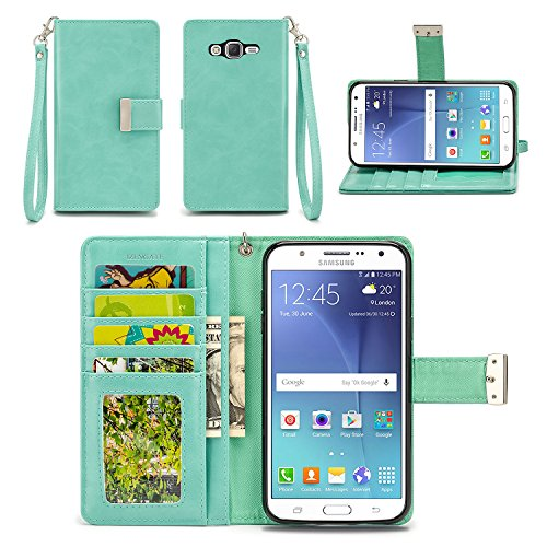 Samsung Galaxy J7 Case - IZENGATE [Classic Series] Wallet Cover PU Leather Flip Folio with Stand for Samsung Galaxy J7 (2015 & 2016) (Mint)