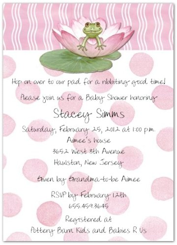 Lily Pad on Pink Baby Shower Invitations – Set of 20