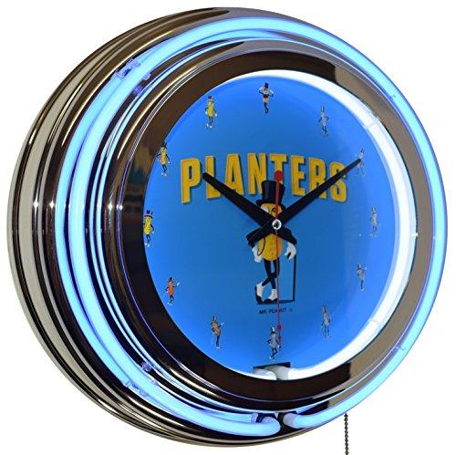 Planters Peanut Mr (Classic Planters MR. Peanut Blue Double Neon Clock Kitchen Diner Decor)