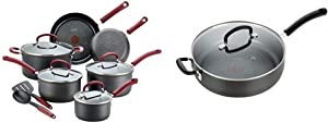 T-fal Ultimate Hard Anodized Dishwasher Safe Nonstick Cookware Set, 12-Piece, Red & Ultimate Hard Anodized, Nonstick 5 Qt. Jumbo Cooker, Black, E76582, 5 Quart, Grey