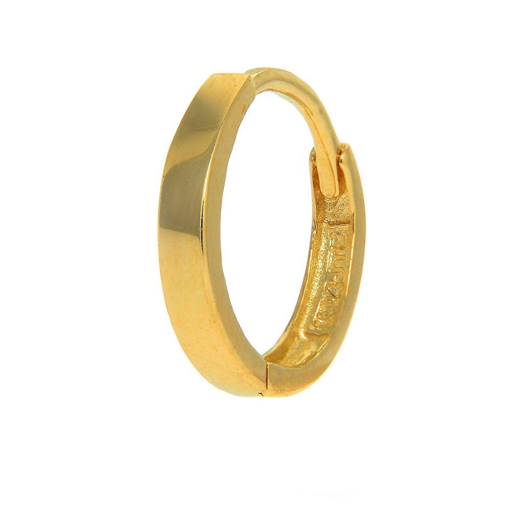 JewelStop 14k Yellow Gold Single Huggie Hoop Men's Hinged Earring - 2x11mm