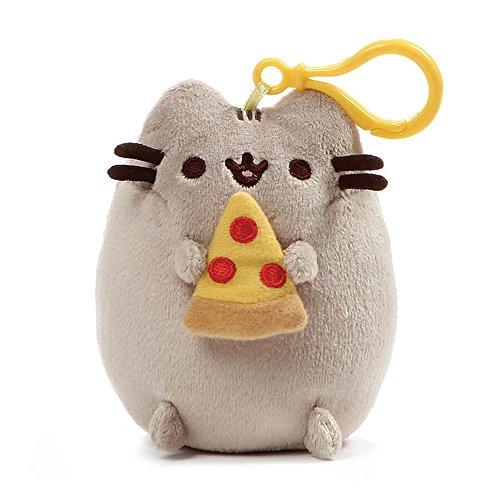 (GUND Pusheen Snackable Pizza Cat Plush Stuffed Animal Backpack Clip, Gray, 5