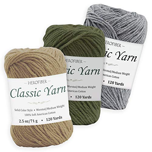 Cotton Yarn Assortment | Bone Beige + Khaki Green + Light Denim | 2.5oz / Ball - 3 Solid Colors - Worsted/Medium Weight - for Knitting, Crochet, Needlework, Decor, Arts & Crafts Projects