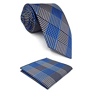 S&W SHLAX&WING New Design Men's Tie Sets Blue for Suit Silk Long Necktie