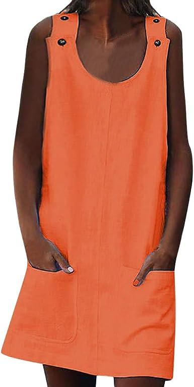 Rcool Vestido Cortos Mujer Verano de Playa Vestido Corto sin Mangas Vestido sin Mangas, Vestidos de Mujer de Cuello Redondo Shift Button Vestidos de algodón Sencillos ...