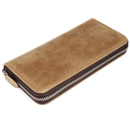 - Kicty Mens Genuine Leather Long Wallet Zipper RFID Blocking Credit Card Holder