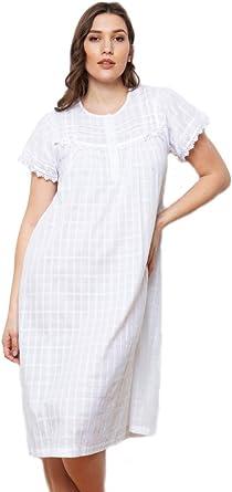 Camisón victoriano 100% algodón blanco y encaje manga corta Nighty by Cottonreal (Ingrid): Amazon.es: Ropa y accesorios