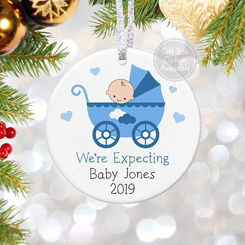 We're Expecting a Baby Christmas Ornament, Personalized Pregnancy Reveal Announcement, It's a Boy Keepsake for Grandma - 3