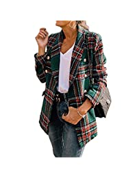 Nerefy Plaid Tweed Jacket Women Double Breasted Pocket Jackets Long Sleeve Coat