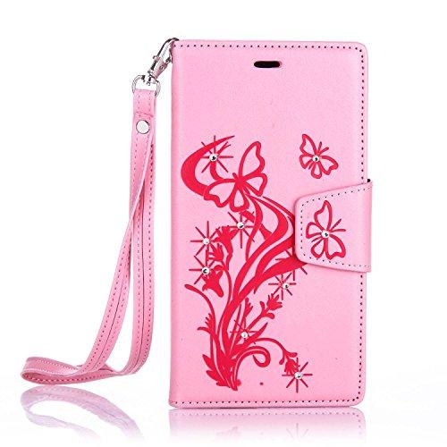 Für Apple iPhone 6 Plus (5,5 Zoll) Tasche ZeWoo® Ledertasche Strass Hülle PU Leder Schutzhülle Glitzer Case Cover - L066 / Schmetterlinge (rosa)